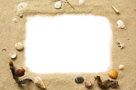 Sand and seashells frame photo