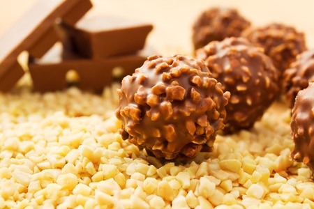 praline: Chocolate candy balls with chopped nuts and chocolate bars Stock Photo