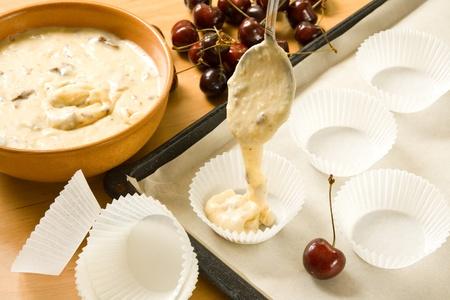Making muffins Stock Photo