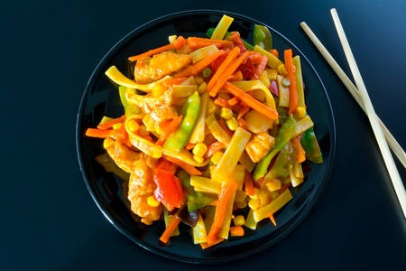 chop stick: Sweet and sour Stock Photo