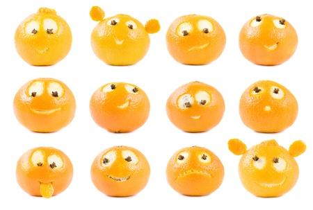 frutas divertidas: Divertido colecci�n de clementinas Foto de archivo