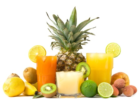 fruit juices: Tropical juices Stock Photo