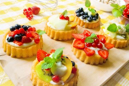 sweet tart: Mini fancy cakes Stock Photo