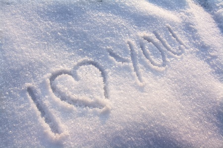 I love you in snow photo