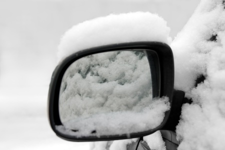 Rear view mirror with snow Stock Photo - 12417247