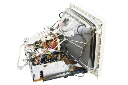 cathode ray tube: Electronics of an old monitor Stock Photo