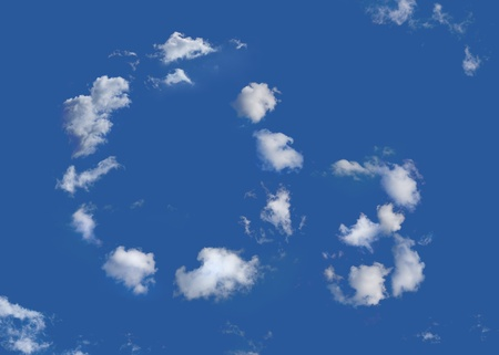 ozone: The chemical formula for an ozone molecule O3  written in clouds in a blue sky Stock Photo
