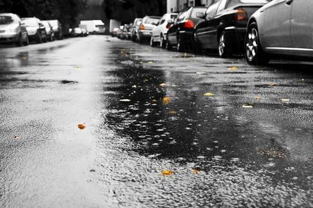 bad weather: Rain and cars