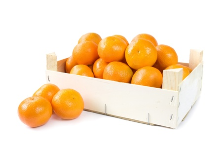 Clementines in wooden box Stock Photo