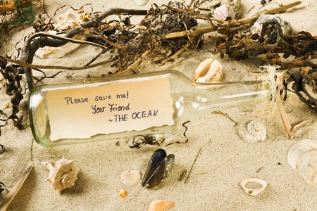 Message in a bottle on a beach containing a message with the words Please save me  Your Friend  THE OCEAN photo