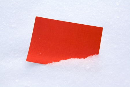 softly: Red blank card in white softly sparkling snow  Stock Photo