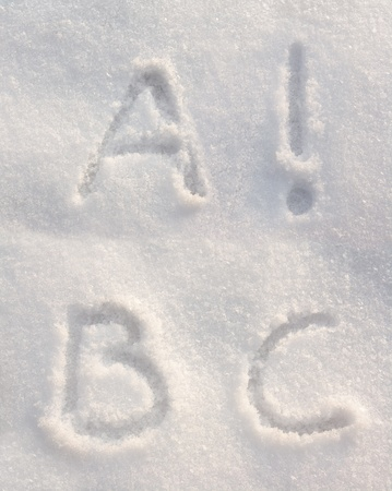 Snow font with letters A, B, C and an exclamation mark