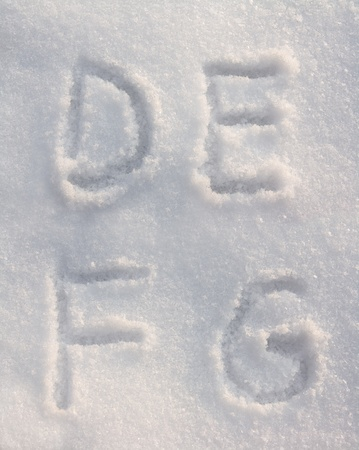 Snow font with letters D, E, F and G photo