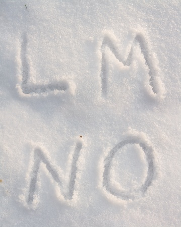 Snow font with letters L, M, N and O