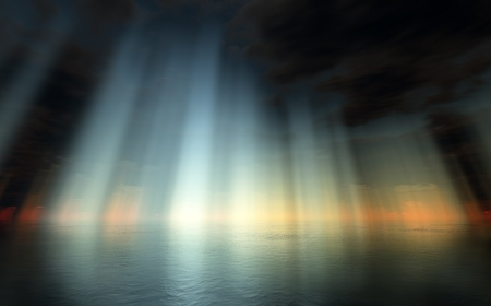 sky  dramatic: Digital render of a dramatic colorful sky above an ocean and sun rays