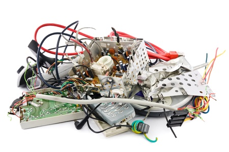 scrap heap: Small heap of mixed electronic waste Stock Photo