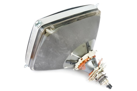 Cathode ray tube of an old computer monitor on white photo