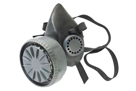 respirator: Used gas mask isolated on white