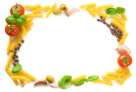 pasta isolated: Pasta ingredients frame