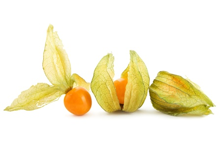 physalis: Three physalis on white background Stock Photo