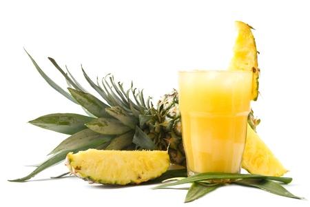 pineapple  glass: Fresh pineapple juice Stock Photo