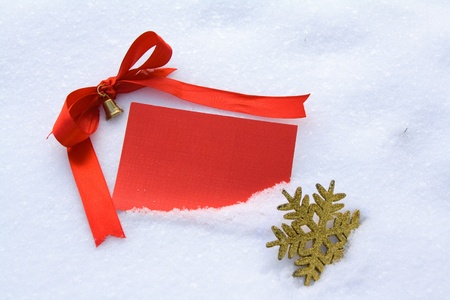 Red card in snow Stock Photo - 12416638