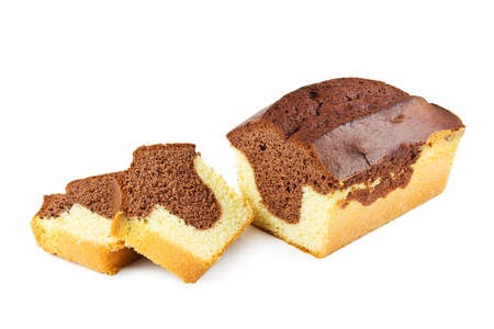 bread slice: Marble cake on a white background
