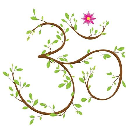상징: 나뭇 가지, 나뭇잎과 꽃으로 만든 옴 기호 일러스트