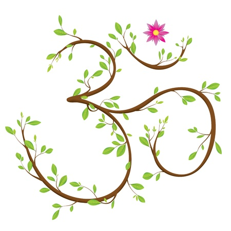 a symbol: Om symbol made of twigs, leaves and a blossom