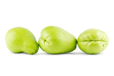 chayote: Group of three whole chayotes Stock Photo
