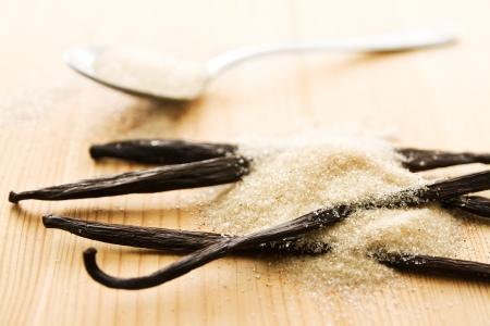 bean pod: Light brown vanilla sugar and vanilla beans