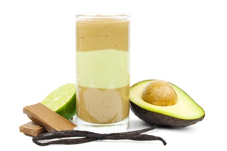 Avocado chocolate smoothie in layers in a glass photo