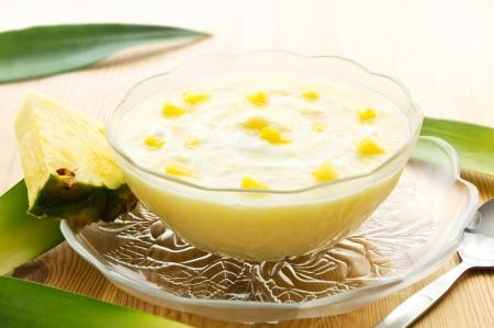 pineapple  glass: Pineapple puree dessert with yogurt