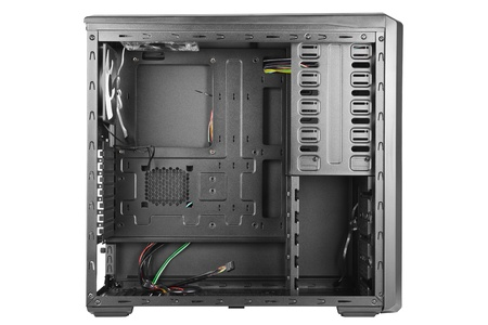 Side view of a black empty computer case