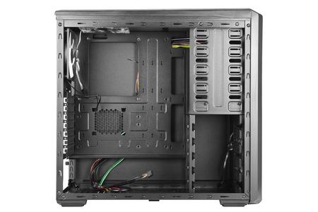 ordinateur de bureau: Vue lat�rale d'un bo�tier d'ordinateur noir vide Banque d'images