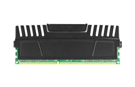 Single ddr3 ram module with heat spreader isolated on white  photo