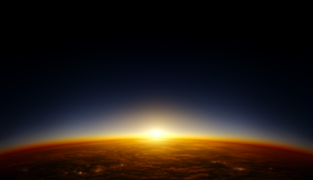 setting sun: Illustration of a planet viewed from orbit in space with the sun setting over its horizon  Lights of cities are visible under the cloud layer  Continent patterns and cities are fictional and are not supposed to resemble any special area on Earth