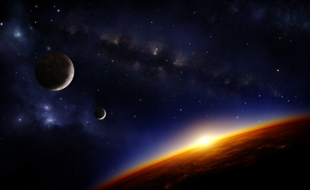Illustration of a planet viewed from orbit in space, two moons, the milkyway and nabulae
