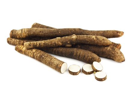 Group of black salsify on white Stock Photo