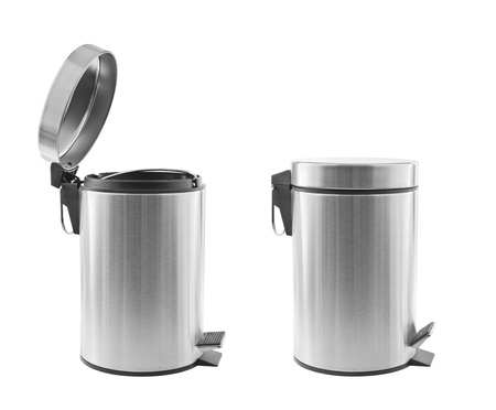 garbage can: Two metal trash cans, one open, one closed, isolated on white