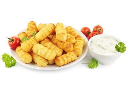 Plate of croquettes with sour cream or tsatsiki sauce Stock Photo - 17719612
