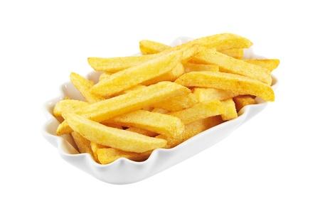 Schüssel mit französisch frites isoliert auf einem weißen Hintergrund