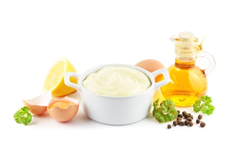 mayo: Mayonnaise with ingredients including oil, eggs, lemons and spices Stock Photo