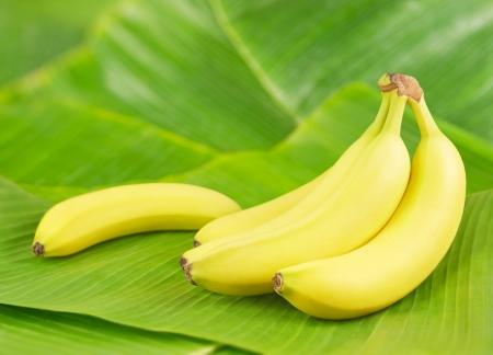 Fresh bananas on banana leaves