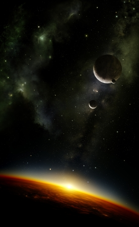 milkyway: Illustration of an alien planet viewed from orbit in space with three moons and the sun setting over its horizon   Stock Photo