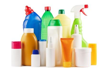 Assortment of plastic bottles on white