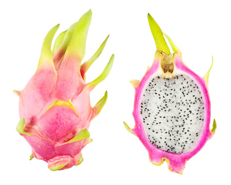 pitahaya: Pitahaya with cross section isolated on white