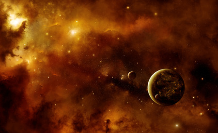 astrophysics: Illustration of an alien inhabited planet in space with two moons inside a nebula