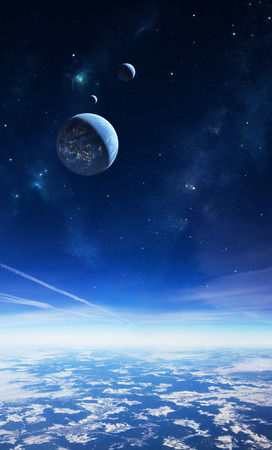 Illustration of an alien planet viewed from a high altitude with moons and stars in the sky. Small towns and cities are visible on the surface in the foreground and on the large moon in the sky. The planetary surface in the foreground is a photo.