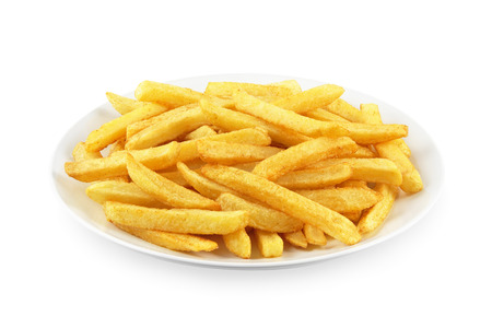 french fries plate: French fries on a plate on white Stock Photo